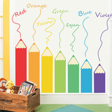 Loskii FX64104 Cartoon Colorful Pencil Wall Sticker For Kids Room Living Room DIY Kindergarten Play Room Mural Home Decor