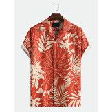 メンズリーフプリント夏通気性速乾性シャツ
