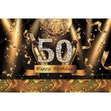 5x7FT vinyle 50e joyeux anniversaire noir or thème photographie toile de fond fond Studio Prop