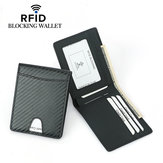 Pria Carbon Fiber Grain Billfold Wallet RFID Memblokir ID Card Holder Money Clip