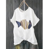 Summer Fishbone Print T-Shirts