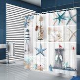 Verão Praia Starfish Banheiro Cortinas de estilo nórdico Impressão Cortina de chuveiro à prova de mofo à prova d'água para o banheiro Banheiro Decoração