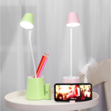 USB LED Table Lamp for Children With Fan Phone Hoder Touch On/Off Switch 3 Modes Eye Protection Desk Lamp