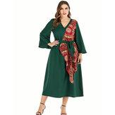 Plus rozmiar Damska sukienka w stylu vintage z nadrukiem w stylu vintage