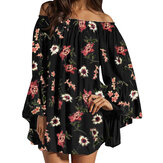 Off Shoulder Floral Chiffon Ruffle Sleeve Blouse Mini Dress