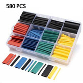 580pcs Set Tube thermorétractable Isolation assortie Tube PVC rétractable 2: 1 Kit de manchon de câble métallique