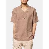 Erkek Pamuk Düz Renk V Yaka Gevşek Rahat T Shirt