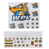 2PCS Stickers Sheet for 1/16 WPL B-1 B16 B14 B16 B24 B36 C14 C14 C34 DIY Decals RC Car Parts