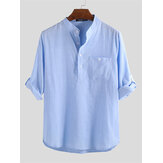 Mens Linen Casual Pullover Henley Shirts