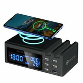 Qi Wireless Phone Charge QC3.0 Smart LCD Orologio 48W 5 porte 2.1A Temperatura adattatore Display Stazione di ricarica desktop per adattatore iPhone + Tipo C
