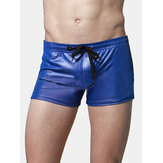 Swimming Imitation Leather Athletic Boxers Trunks Beach Swimwear Shorts for Men