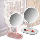 7/8 Inch USB Charging Touch Dimming LED Makeup Table Mirrors With Cosmetics Storage Tray
