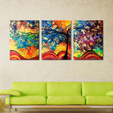 Miico Hand Painted Three Combination Decorative Paintings Money Tree Wall Art For Home Decoration