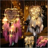 LED Light Dreamcatcher Feather Camera da letto Cuore Forma Camera da letto Decorazione domestica Soggiorno Dreamcatcher Decorazioni regalo