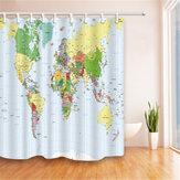 180x180cm polyester wereldkaart badkamer bad waterdichte stoffen douchegordijn