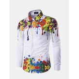 Mens nuova manica lunga autunno inverno stampa 3D manica lunga Camicia