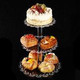 3 camada de acrílico bolo suporte de armazenamento rack Sobremesa exibir titular decorações da festa de casamento