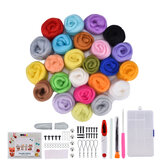 24 Color DIY Wool Felt Kit Needles Tool Set Handmade Needle Felting Mat Starter Fabric Sewing Kit for DIY Felting Craft Project