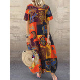 Wanita Retro O-neck lengan pendek longgar Baggy Print Maxi Dress