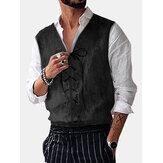 Heren vintage v-hals trekkoord effen kleur casual vest