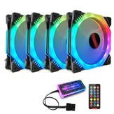 Coolmoon 4PCS 12cm Multilayer Backlit RGB CPU CPU Dissipador de calor PC com o RF Wireless Controle Remoto