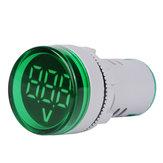 5pcs Green ST16VD 22mm Hole Size 6-100 VDC Digital Voltmeter Round Voltage Detector Tester Mini LED Voltage Indicator Signal Light Monitor