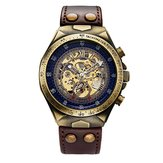 SHENHUA Merek Asli Bronze Belt Skeleton Mechanical Watch