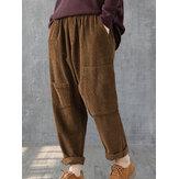 Pantalon en velours côtelé à taille élastique