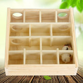 Wood Hamster Maze Toy With Glass Cover Hut House Cage Playground For Small Pet Toys