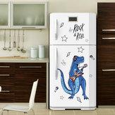 Loskii SK9361 Rock Roll Dinosaur Wall Sticker per la camera dei bambini Animali del fumetto Decorazioni per la casa Arte Viny Carta da parati in PVC Porta creativa Decorazione del frigorifero