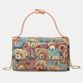 Women Bear Pattern 5 بطاقة Slots Chain هاتف Purse Crossbody Bag
