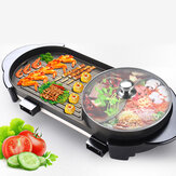 Larger 2 in 1 220V Electric Hot pot Oven Smokeless Barbecue Machine Shabu Pot