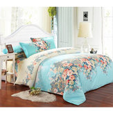 4 Pcs Blue Single Double Queen King Size Bed Set Pillowcase Quilt Duvet Bedding Sets