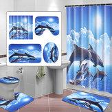 シャワーカーテンバスパッド台座敷物フタトイレカバーアートファッションイルカ