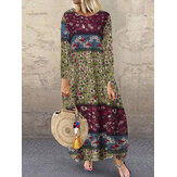 Women Cotton Floral Random Print O-Neck Long Sleeve Dress