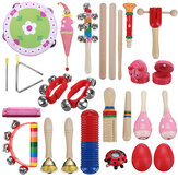 22 Pieces Set Orff Musical Instruments Hand Percussion Musical Toy for Kids Music Learning/KTV Party Playing
