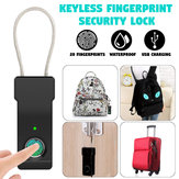 Portable USB Rechargeable Electronic Lock Anti-Theft Security Fingerprint Lock Luggage Lock Smart Waterproof Suitcase Padlock Fast Recognition