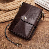 Menn Gneuine Leather RFID Blocking Anti-theft Chain Wallet