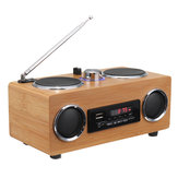 Retro Vintage Portable Radio Receiver Speaker Multimedia Player Super Bass FM TF Card USB Natural Bamboo