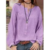 Mulheres sólida folgado algodão outono blusa de manga longa