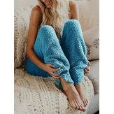 Pantalon décontracté en peluche de couleur unie pour femmes