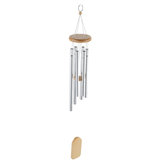 6 Silver Tubes Wood Wind Chimes Home Garden Yard Windbells Decor