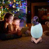 Loskii KL-02 décoratif 3D oeuf Triceratops Smart Night Light 16 couleurs Télécommande Tactile Interrupteur LED Veilleuse Pour Le Cadeau De Noël