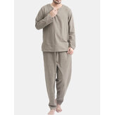 TWO-SIDED Hommes Coton Comfy Soft Ensemble de vêtements de nuit à manches longues de couleur unie Yoga Ensemble de pyjamas