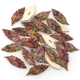 50PCS Retro Style Leaves Shaped Wooden Buttons Washable Sewing Buttons DIY Decor Handcraft Supplies