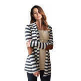 Mulheres Stripe Patchwork Open Front Loose Cardigans Casacos