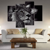 Miico Hand Painted Four Combination Decorative Paintings Lion Head Wall Art For Home Decoration