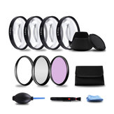 49/52/55/58/62/67/72/77mm Close-up +1/+2/+4/+10 UV FLD CPL Lens Filter Hood Set for DSLR Camera