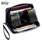 Anti-theft RFID Blocking Genuine Leather Card Holder