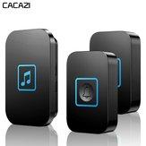 Bezprzewodowy dzwonek do drzwi CACAZI Wodoodporny 300 m Zdalny akumulator 2 przycisk 1 Odbiornik Inteligentny dzwonek do domu
